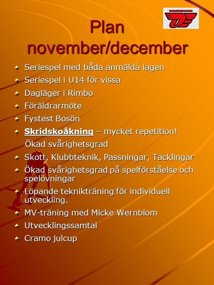 Plan november/december Seriespel med båda anmälda lagen Seriespel i U14 för vissa Dagläger i Rimbo Föräldrarmöte Fystest Bosön Skridskoåkning – mycket repetition.