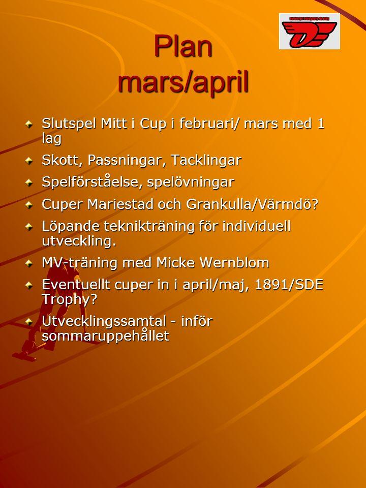 Plan mars/april Slutspel Mitt i Cup i februari/ mars med 1 lag Skott, Passningar, Tacklingar Spelförståelse, spelövningar Cuper Mariestad och Grankulla/Värmdö.