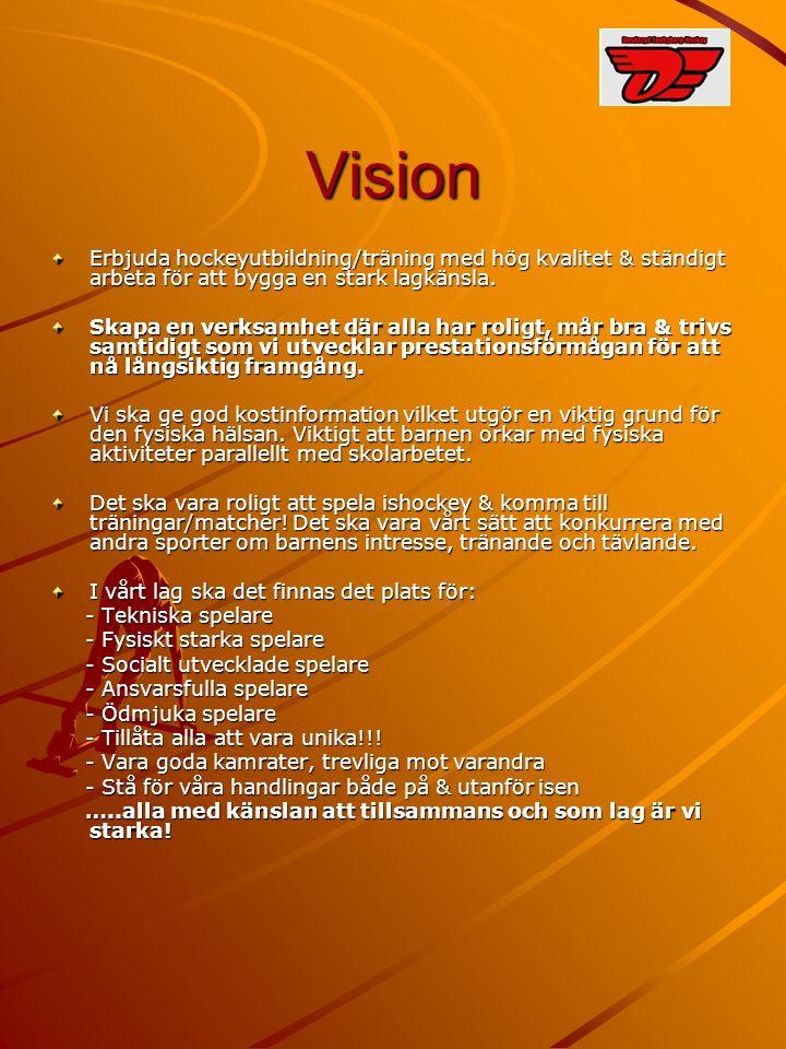 Värderingar Lagkänslan Sportmanship både på & utanför isen Jobba/kämpa så gott man kan oavsett kunskapsnivå.