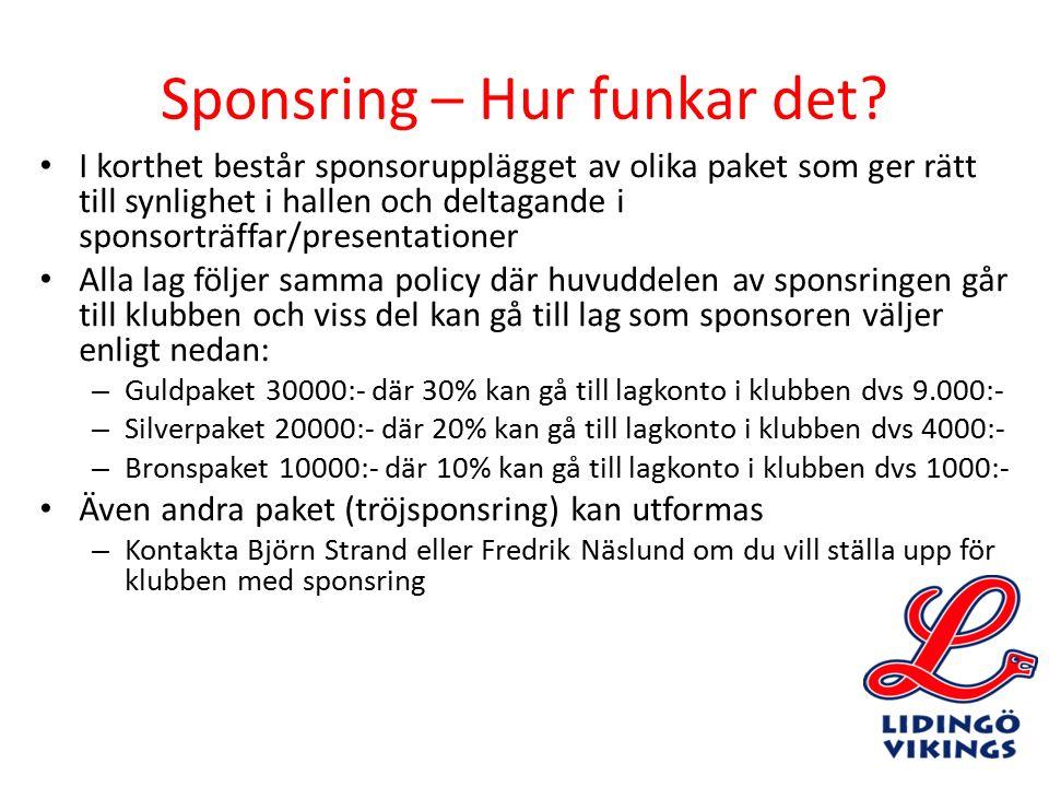 Sponsring – Hur funkar det? I korthet består sponsorupplägget av olika paket som ger rätt till synlighet i hallen och deltagande i sponsorträffar/pres