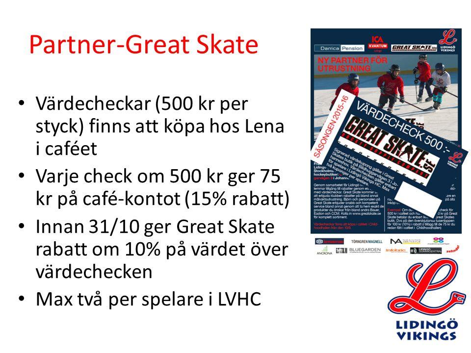 Partner-Great Skate Värdecheckar (500 kr per styck) finns att köpa hos Lena i caféet Varje check om 500 kr ger 75 kr på café-kontot (15% rabatt) Innan