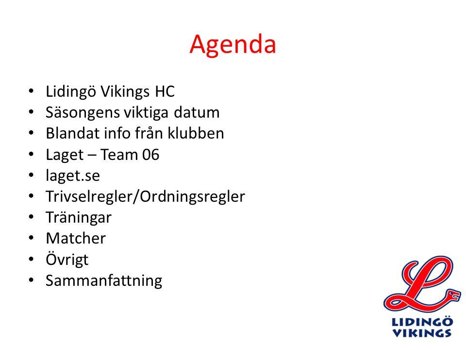 Agenda Lidingö Vikings HC Säsongens viktiga datum Blandat info från klubben Laget – Team 06 laget.se Trivselregler/Ordningsregler Träningar Matcher Öv