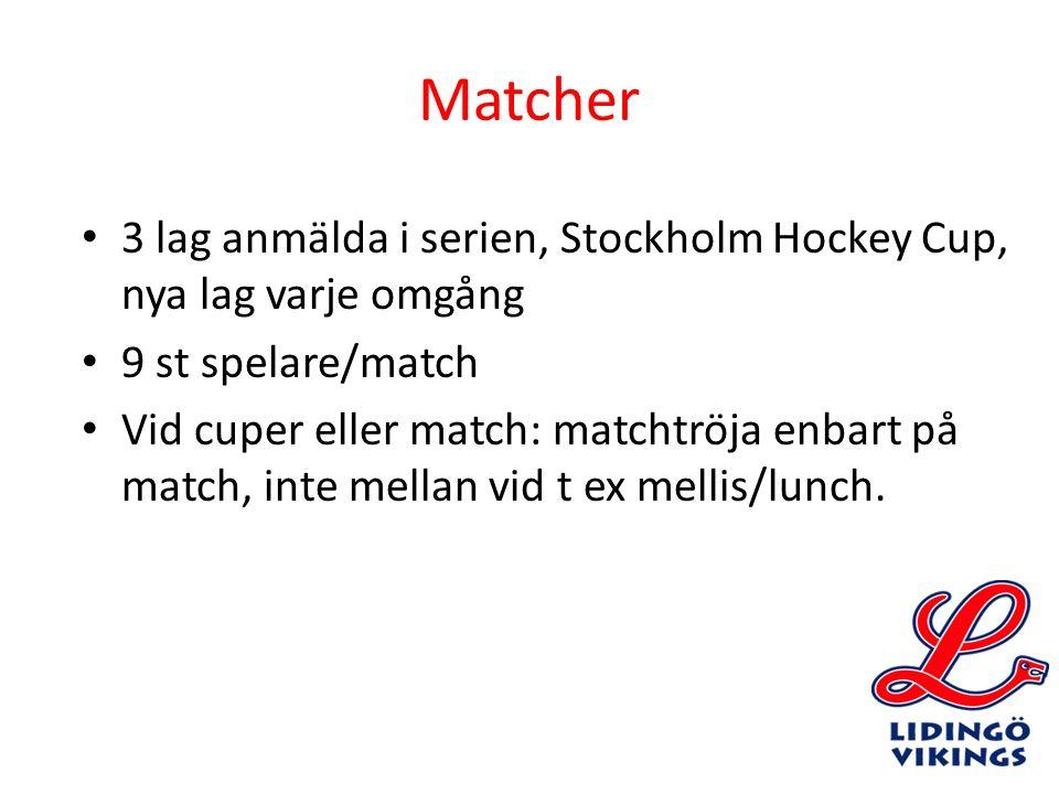 Matcher 3 lag anmälda i serien, Stockholm Hockey Cup, nya lag varje omgång 9 st spelare/match Vid cuper eller match: matchtröja enbart på match, inte