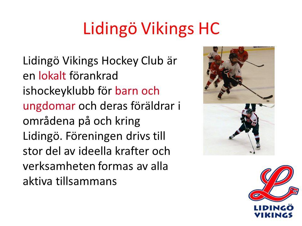 Lidingö Vikings HC Lidingö Vikings Hockey Club är en lokalt förankrad ishockeyklubb för barn och ungdomar och deras föräldrar i områdena på och kring