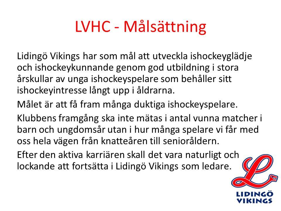 LVHC - Målsättning Lidingö Vikings har som mål att utveckla ishockeyglädje och ishockeykunnande genom god utbildning i stora årskullar av unga ishocke