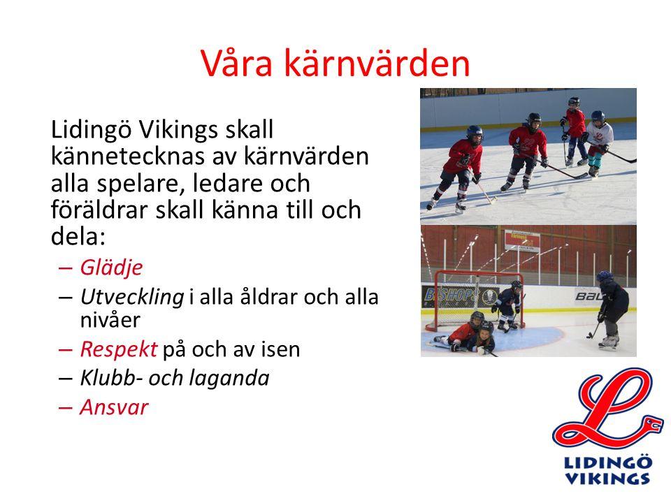 Våra kärnvärden Lidingö Vikings skall kännetecknas av kärnvärden alla spelare, ledare och föräldrar skall känna till och dela: – Glädje – Utveckling i