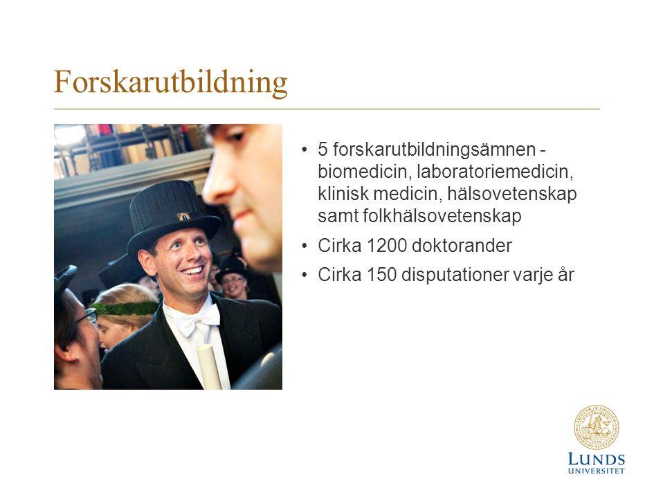 Forskarutbildning 5 forskarutbildningsämnen - biomedicin, laboratoriemedicin, klinisk medicin, hälsovetenskap samt folkhälsovetenskap Cirka 1200 dokto
