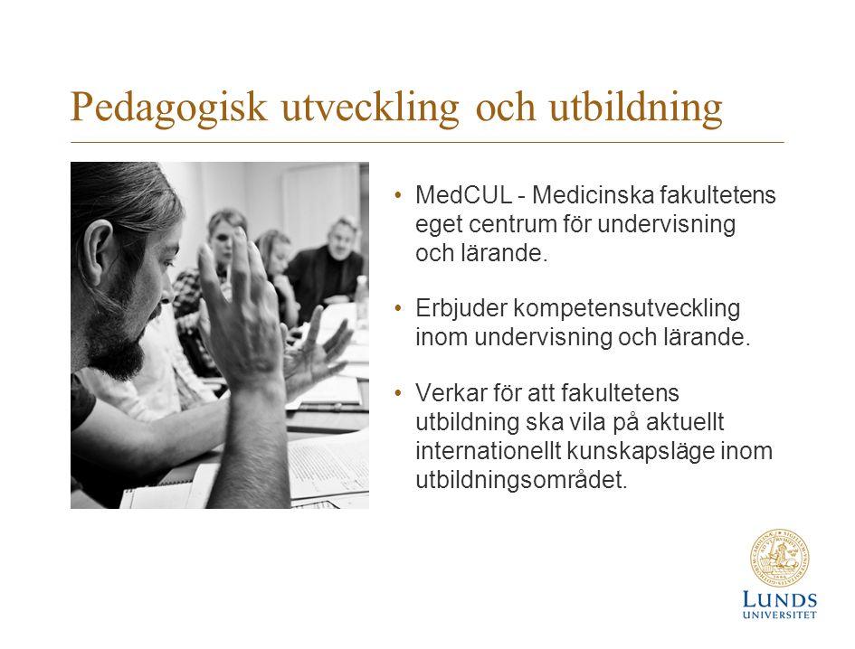 Pedagogisk utveckling och utbildning MedCUL - Medicinska fakultetens eget centrum för undervisning och lärande. Erbjuder kompetensutveckling inom unde