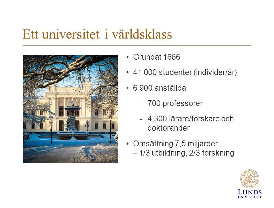 Ett universitet i världsklass Grundat 1666 41 000 studenter (individer/år) 6 900 anställda -700 professorer -4 300 lärare/forskare och doktorander Omsättning 7,5 miljarder – 1/3 utbildning, 2/3 forskning