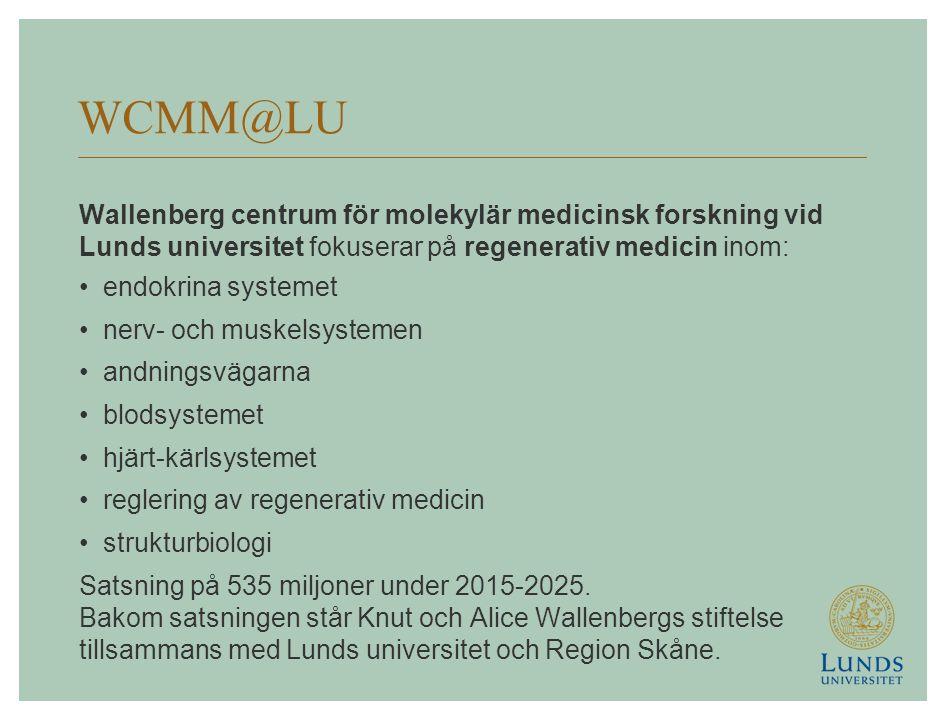 WCMM@LU Wallenberg centrum för molekylär medicinsk forskning vid Lunds universitet fokuserar på regenerativ medicin inom: endokrina systemet nerv- och muskelsystemen andningsvägarna blodsystemet hjärt-kärlsystemet reglering av regenerativ medicin strukturbiologi Satsning på 535 miljoner under 2015-2025.