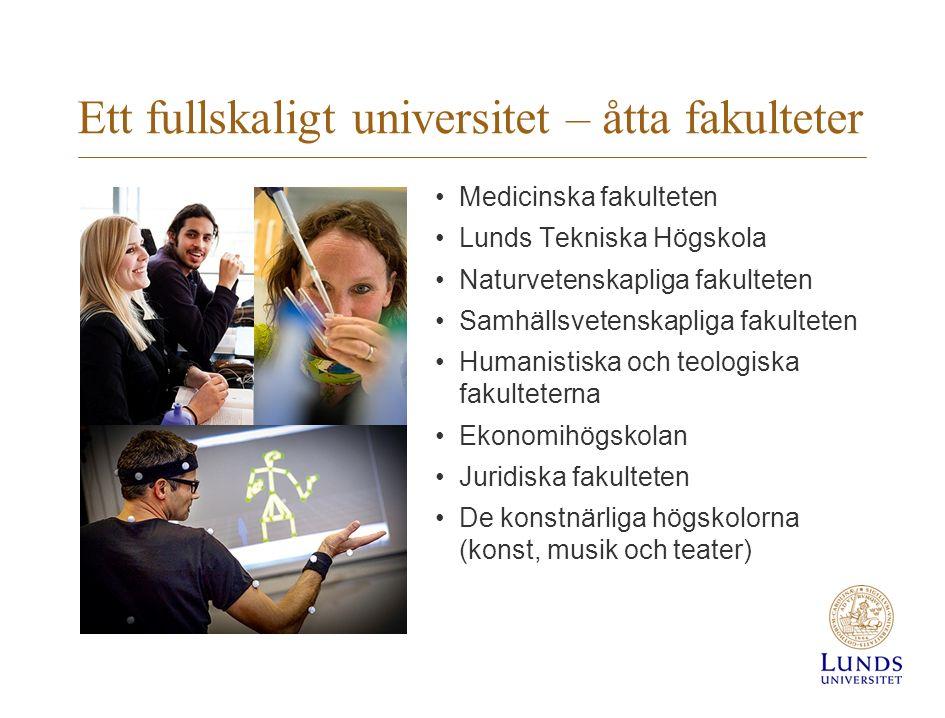 Ett fullskaligt universitet – åtta fakulteter Medicinska fakulteten Lunds Tekniska Högskola Naturvetenskapliga fakulteten Samhällsvetenskapliga fakult