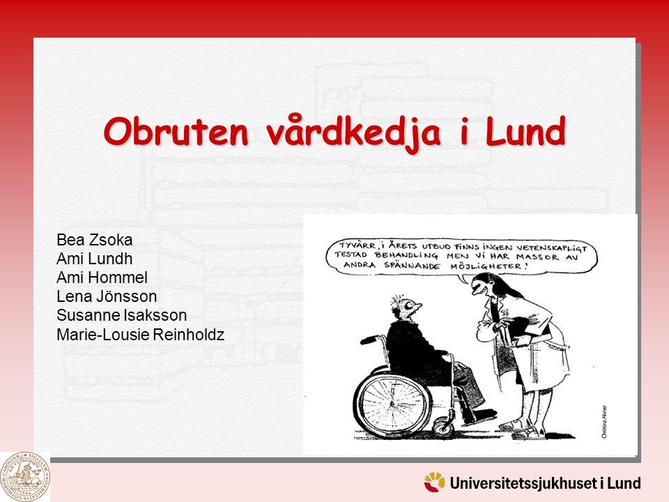 Obruten vårdkedja i Lund Bea Zsoka Ami Lundh Ami Hommel Lena Jönsson Susanne Isaksson Marie-Lousie Reinholdz
