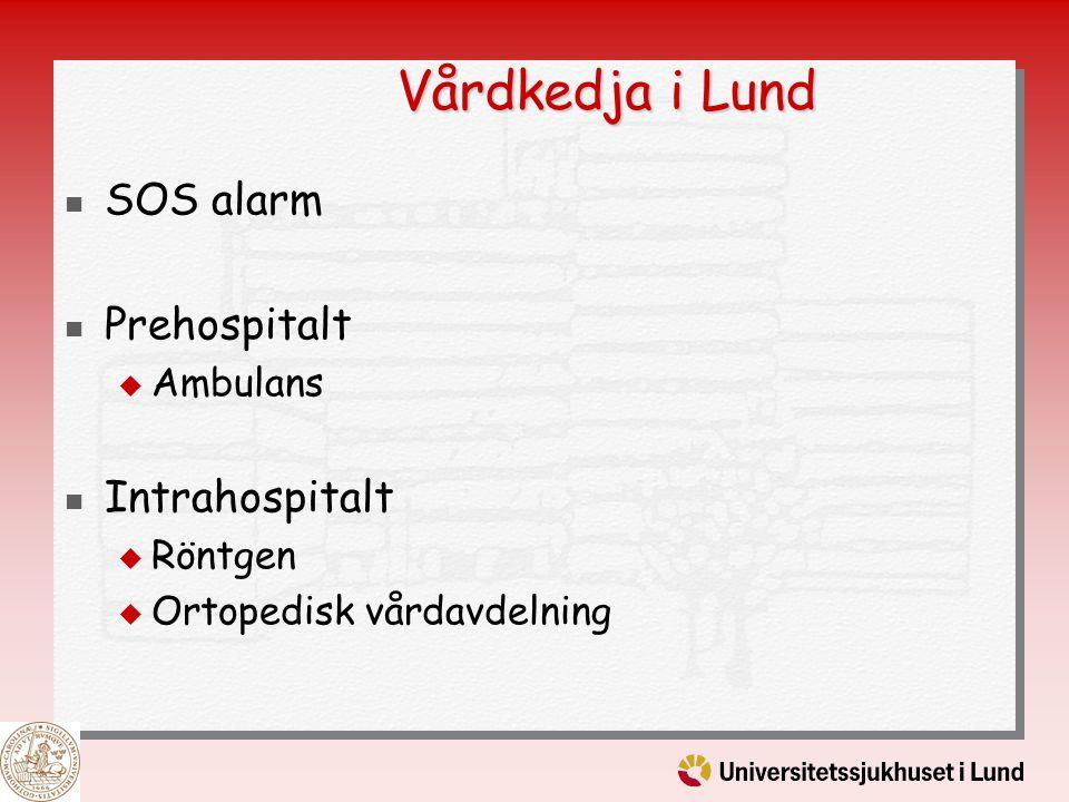 Vårdkedja i Lund SOS alarm Prehospitalt  Ambulans Intrahospitalt  Röntgen  Ortopedisk vårdavdelning