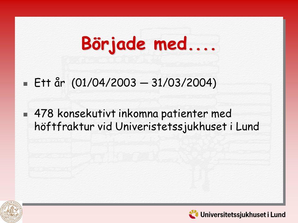Började med.... Ett år (01/04/2003 ─ 31/03/2004) 478 konsekutivt inkomna patienter med höftfraktur vid Univeristetssjukhuset i Lund