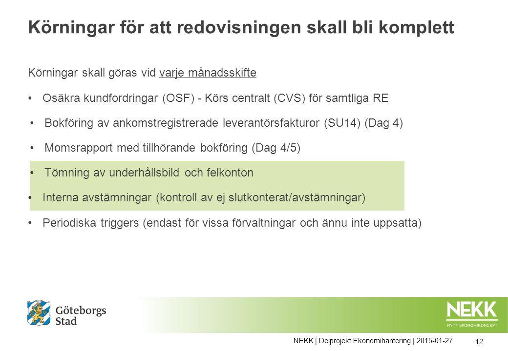 Körningar skall göras vid varje månadsskifte Osäkra kundfordringar (OSF) - Körs centralt (CVS) för samtliga RE Bokföring av ankomstregistrerade levera