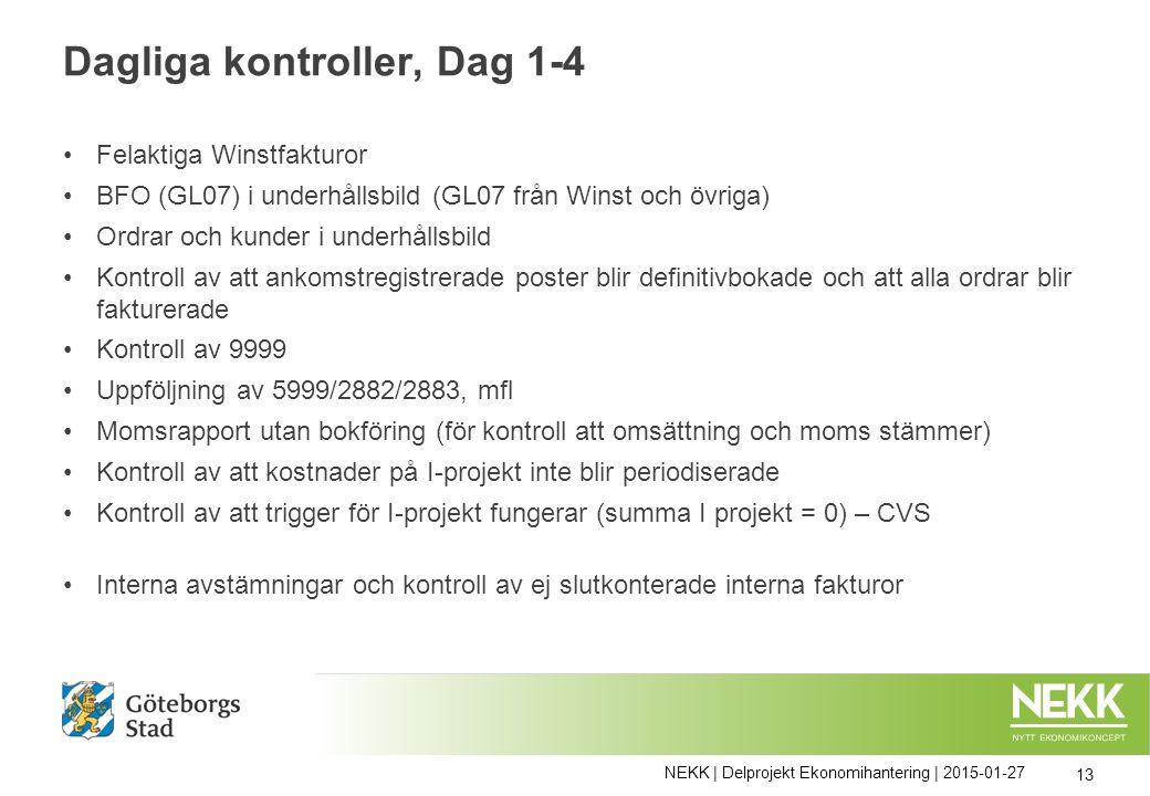 Dagliga kontroller, Dag 1-4 Felaktiga Winstfakturor BFO (GL07) i underhållsbild (GL07 från Winst och övriga) Ordrar och kunder i underhållsbild Kontro