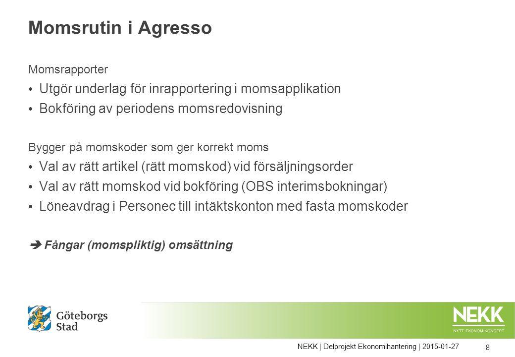 Momsrutin i Agresso Momsrapporter Utgör underlag för inrapportering i momsapplikation Bokföring av periodens momsredovisning Bygger på momskoder som g