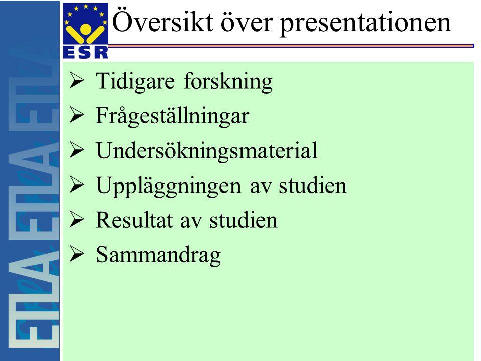 Översikt över presentationen  Tidigare forskning  Frågeställningar  Undersökningsmaterial  Uppläggningen av studien  Resultat av studien  Sammandrag