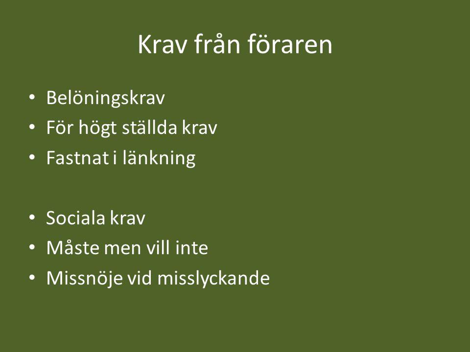 Krav från föraren Belöningskrav För högt ställda krav Fastnat i länkning Sociala krav Måste men vill inte Missnöje vid misslyckande