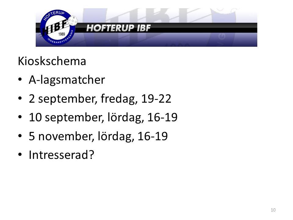 Kioskschema A-lagsmatcher 2 september, fredag, 19-22 10 september, lördag, 16-19 5 november, lördag, 16-19 Intresserad.