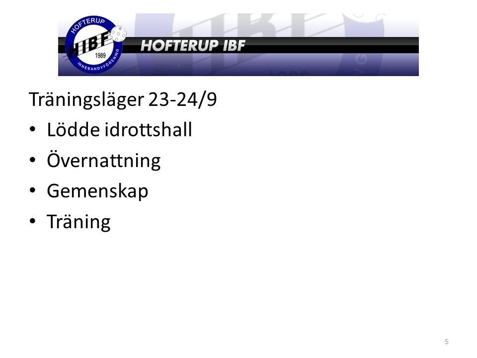 Träningsläger 23-24/9 Lödde idrottshall Övernattning Gemenskap Träning 5