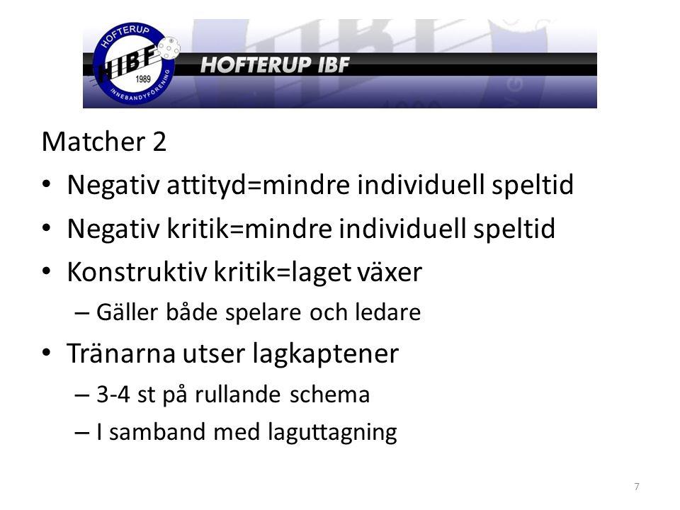 Matcher 2 Negativ attityd=mindre individuell speltid Negativ kritik=mindre individuell speltid Konstruktiv kritik=laget växer – Gäller både spelare och ledare Tränarna utser lagkaptener – 3-4 st på rullande schema – I samband med laguttagning 7