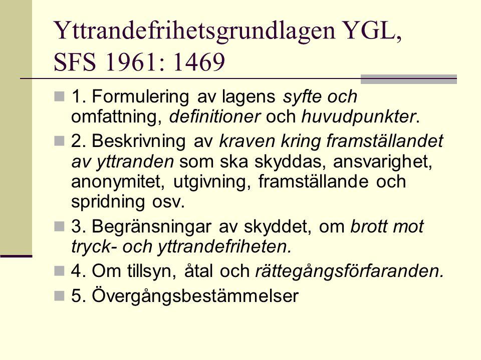 Yttrandefrihetsgrundlagen YGL, SFS 1961: 1469 1. Formulering av lagens syfte och omfattning, definitioner och huvudpunkter. 2. Beskrivning av kraven k