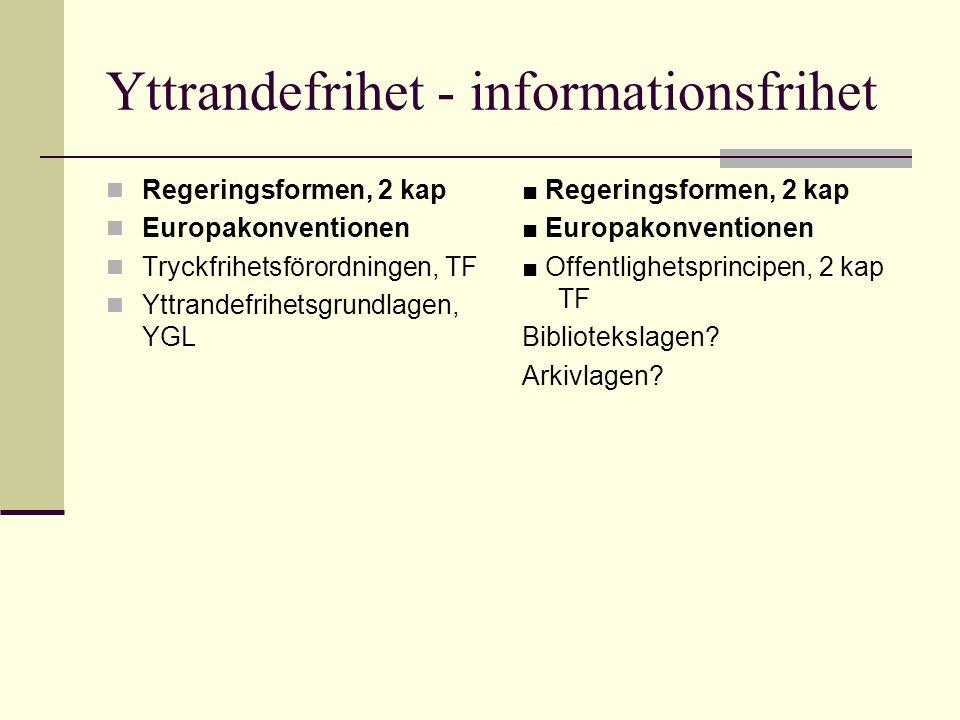Yttrandefrihet - informationsfrihet Regeringsformen, 2 kap Europakonventionen Tryckfrihetsförordningen, TF Yttrandefrihetsgrundlagen, YGL ■ Regeringsformen, 2 kap ■ Europakonventionen ■ Offentlighetsprincipen, 2 kap TF Bibliotekslagen.