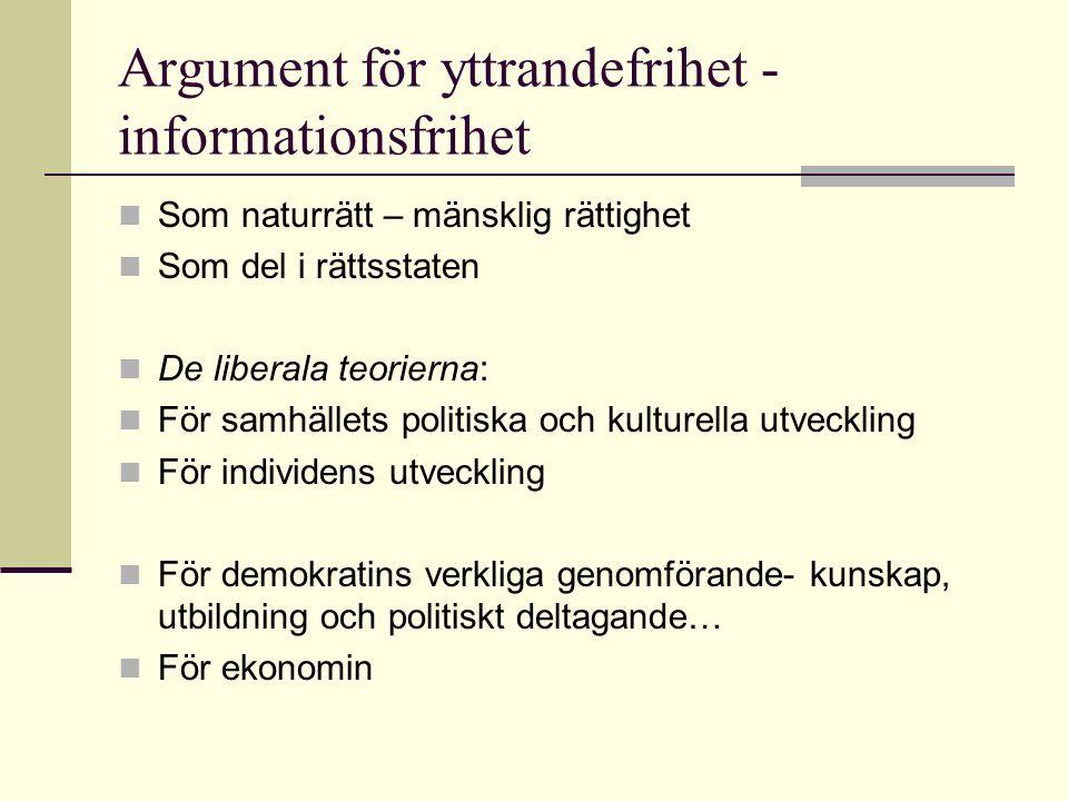 Argument för yttrandefrihet - informationsfrihet Som naturrätt – mänsklig rättighet Som del i rättsstaten De liberala teorierna: För samhällets politiska och kulturella utveckling För individens utveckling För demokratins verkliga genomförande- kunskap, utbildning och politiskt deltagande… För ekonomin