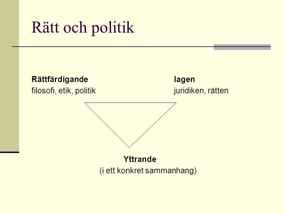 Rätt och politik Rättfärdigandelagen filosofi, etik, politikjuridiken, rätten Yttrande (i ett konkret sammanhang)