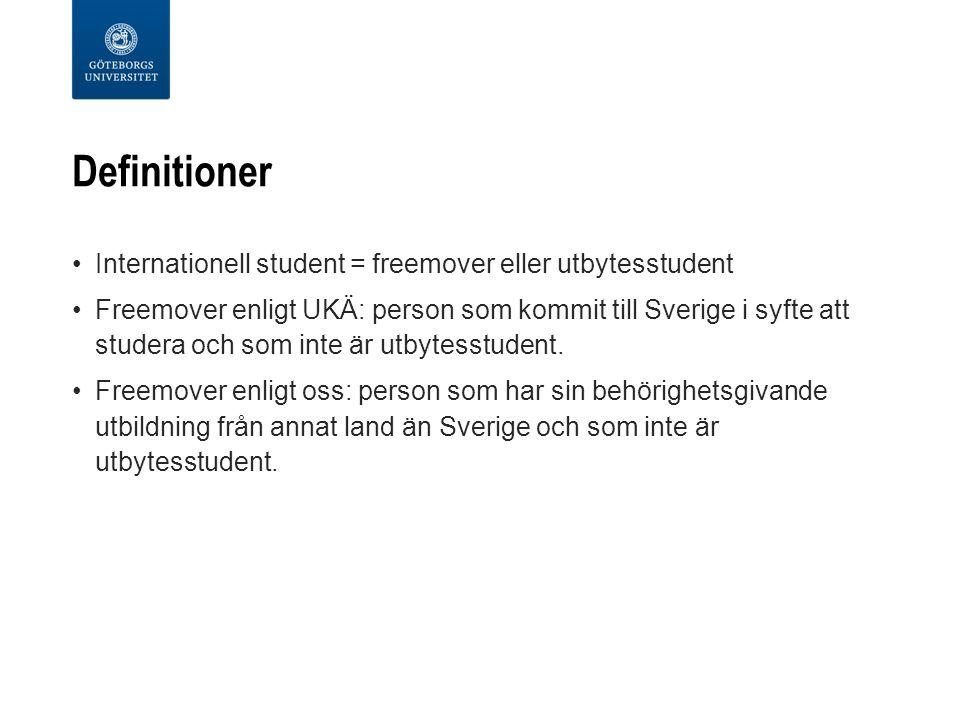 Definitioner Internationell student = freemover eller utbytesstudent Freemover enligt UKÄ: person som kommit till Sverige i syfte att studera och som inte är utbytesstudent.