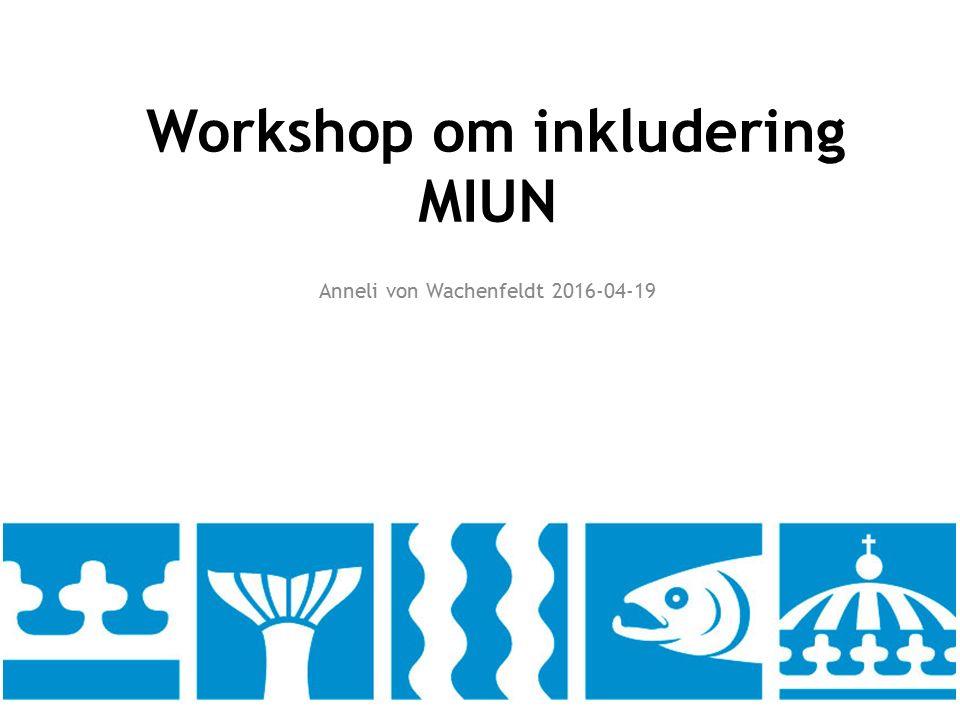 Workshop om inkludering MIUN Anneli von Wachenfeldt 2016-04-19