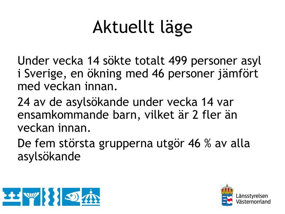 Under vecka 14 sökte totalt 499 personer asyl i Sverige, en ökning med 46 personer jämfört med veckan innan.