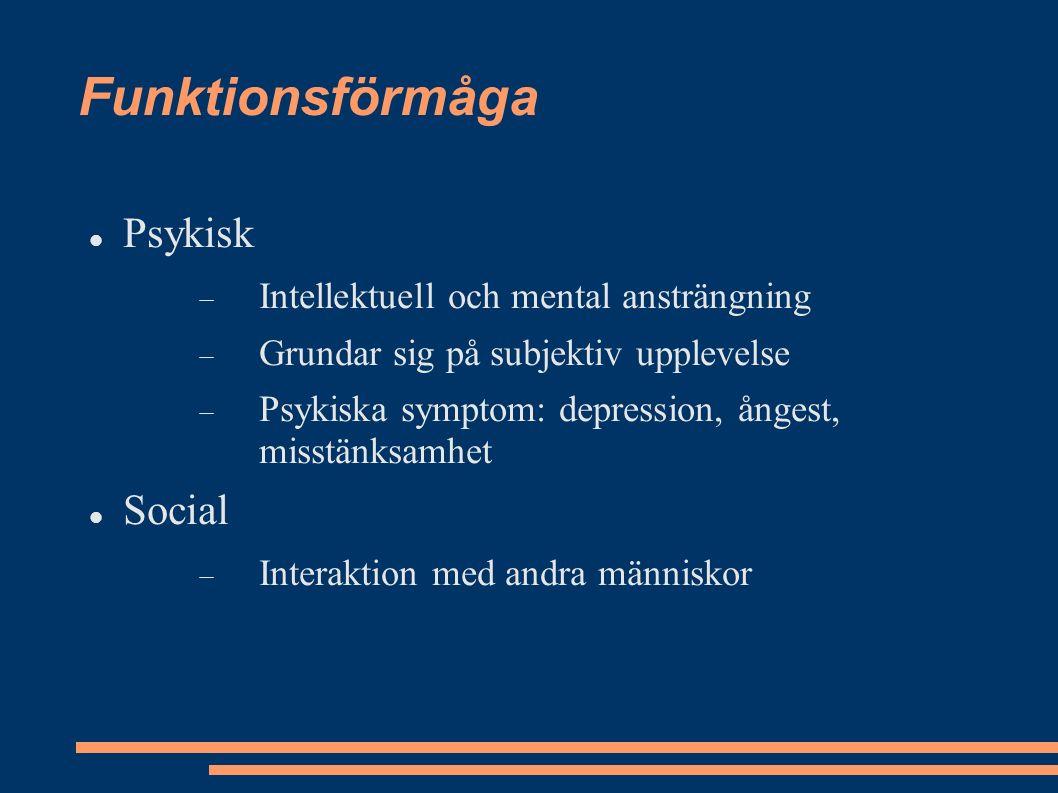 Funktionsförmåga Psykisk  Intellektuell och mental ansträngning  Grundar sig på subjektiv upplevelse  Psykiska symptom: depression, ångest, misstänksamhet Social  Interaktion med andra människor