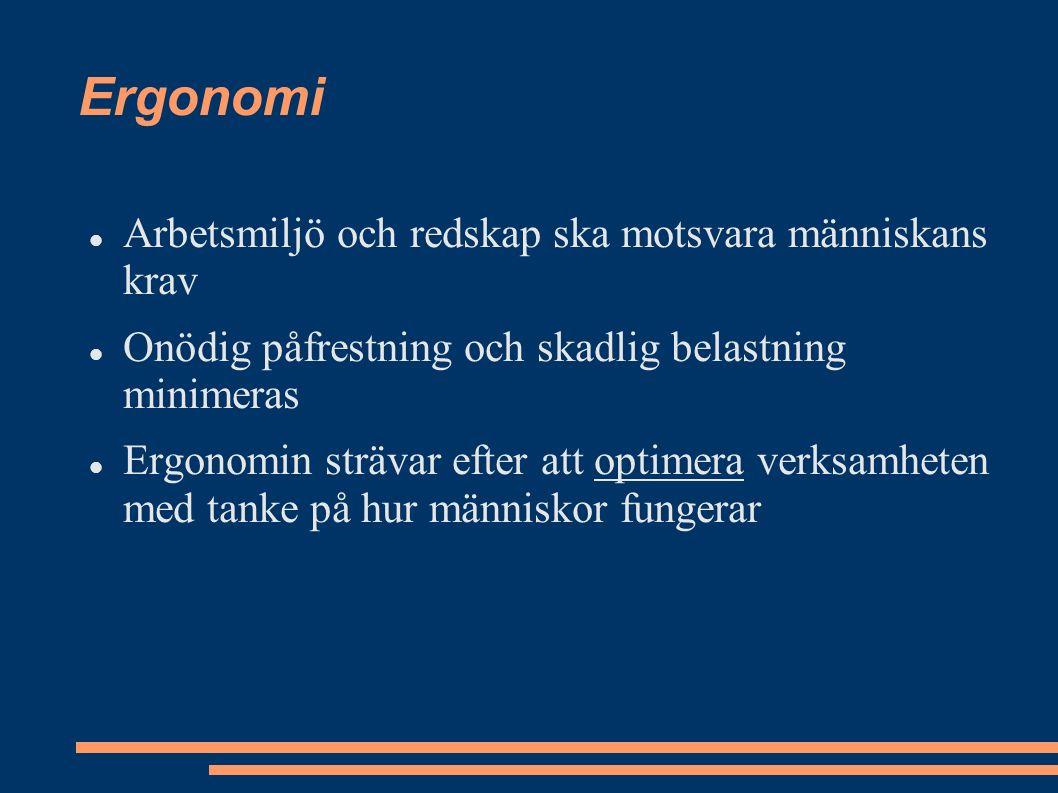 Ergonomi Arbetsmiljö och redskap ska motsvara människans krav Onödig påfrestning och skadlig belastning minimeras Ergonomin strävar efter att optimera