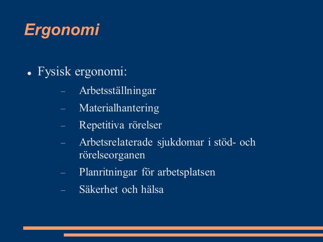 Ergonomi Fysisk ergonomi:  Arbetsställningar  Materialhantering  Repetitiva rörelser  Arbetsrelaterade sjukdomar i stöd- och rörelseorganen  Planritningar för arbetsplatsen  Säkerhet och hälsa