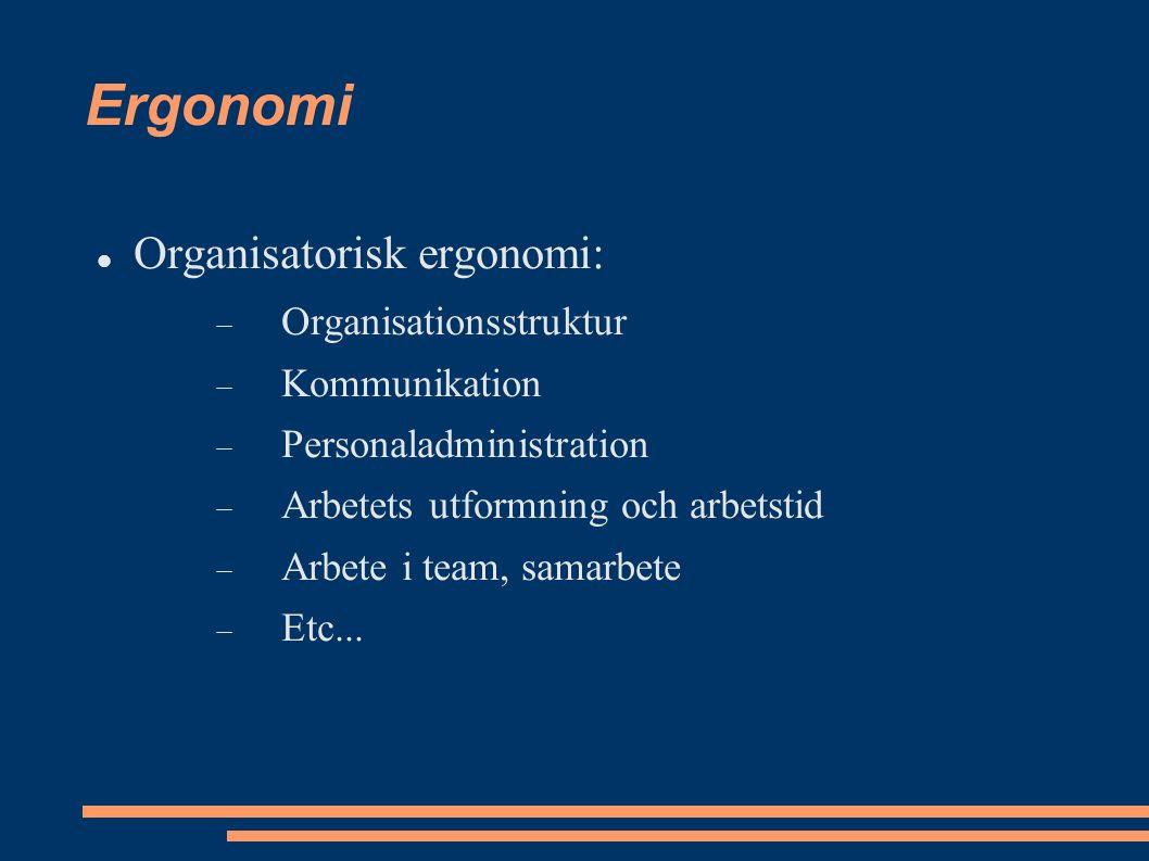 Ergonomi Organisatorisk ergonomi:  Organisationsstruktur  Kommunikation  Personaladministration  Arbetets utformning och arbetstid  Arbete i team, samarbete  Etc...