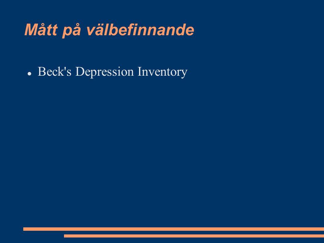 Mått på välbefinnande Beck s Depression Inventory
