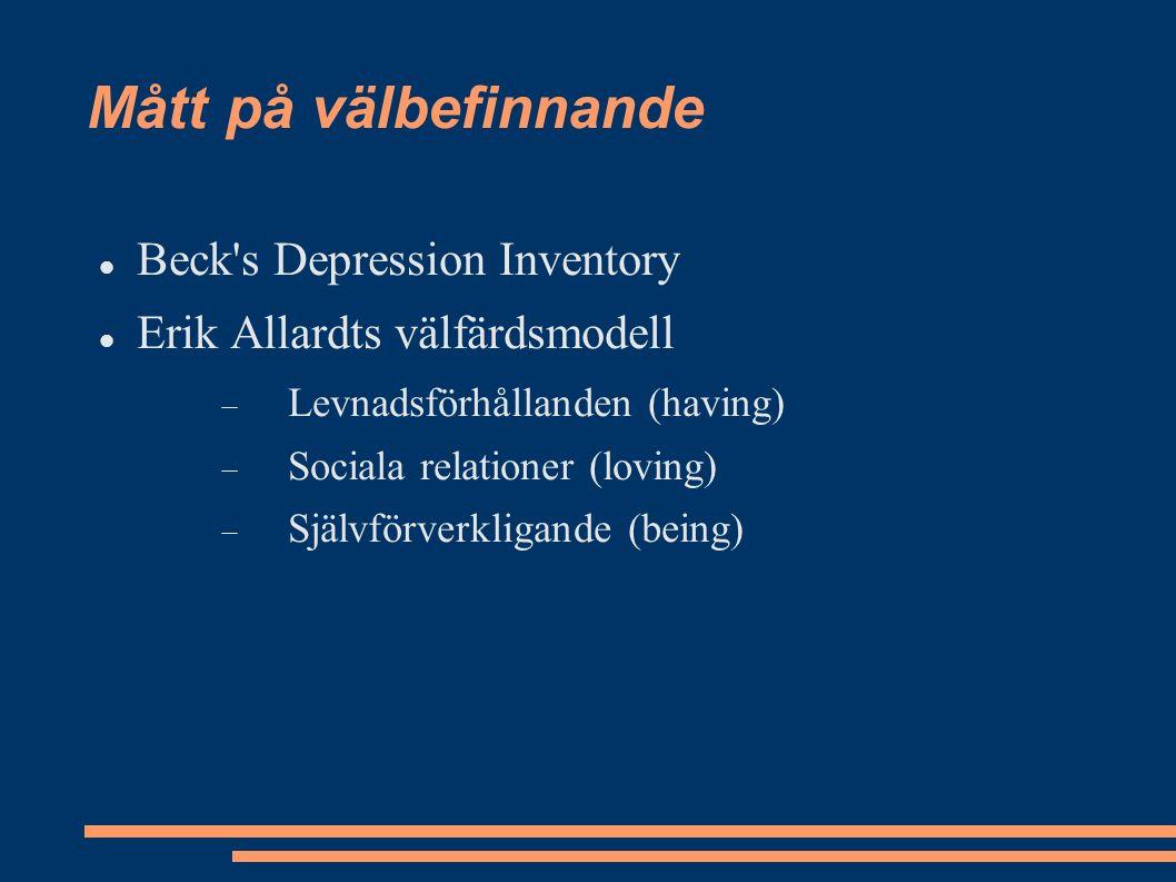 Mått på välbefinnande Beck s Depression Inventory Erik Allardts välfärdsmodell  Levnadsförhållanden (having)  Sociala relationer (loving)  Självförverkligande (being)
