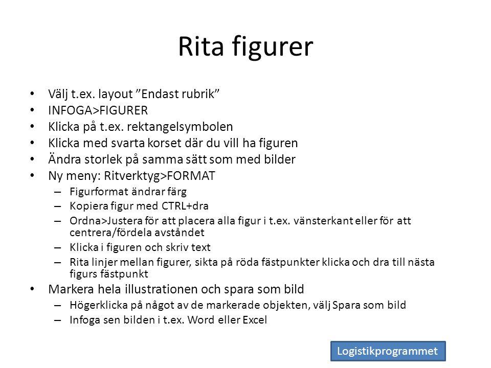 Logistikprogrammet Rita figurer Välj t.ex. layout Endast rubrik INFOGA>FIGURER Klicka på t.ex.