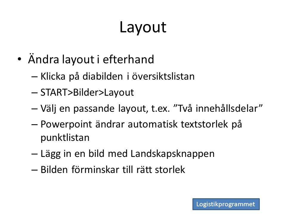 Logistikprogrammet Layout Ändra layout i efterhand – Klicka på diabilden i översiktslistan – START>Bilder>Layout – Välj en passande layout, t.ex.