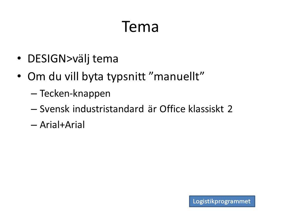 Logistikprogrammet Tema DESIGN>välj tema Om du vill byta typsnitt manuellt – Tecken-knappen – Svensk industristandard är Office klassiskt 2 – Arial+Arial