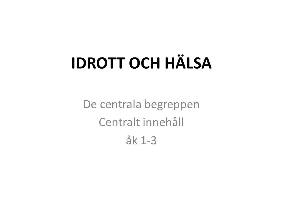 IDROTT OCH HÄLSA De centrala begreppen Centralt innehåll åk 1-3