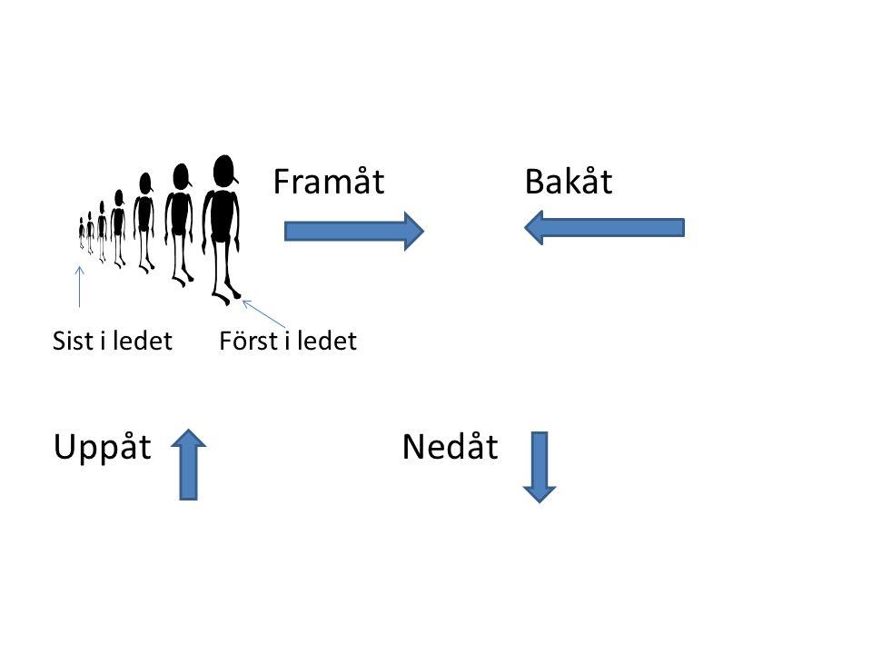Framåt Bakåt Sist i ledet Först i ledet UppåtNedåt