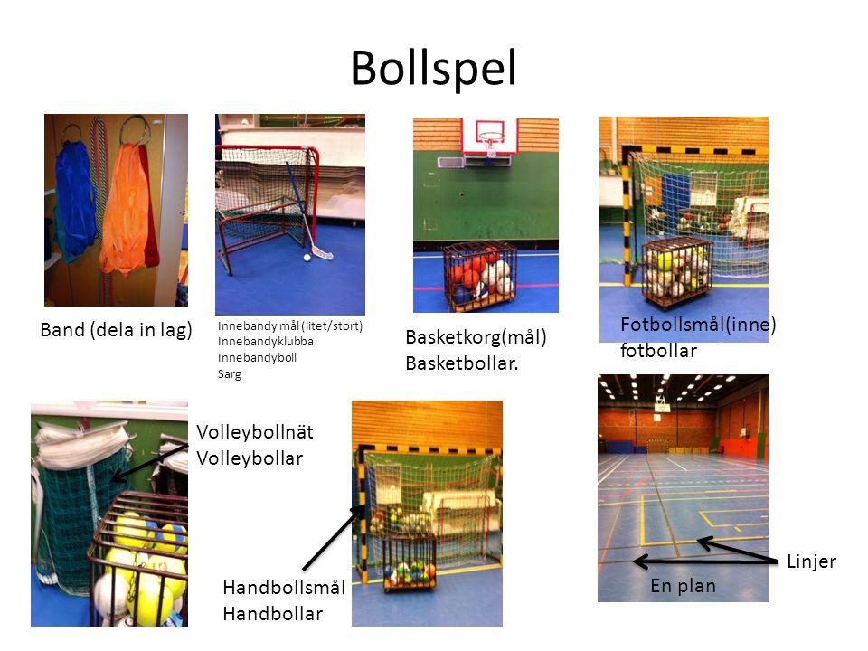 Bollspel Band (dela in lag) Innebandy mål (litet/stort) Innebandyklubba Innebandyboll Sarg En plan Linjer Basketkorg(mål) Basketbollar.