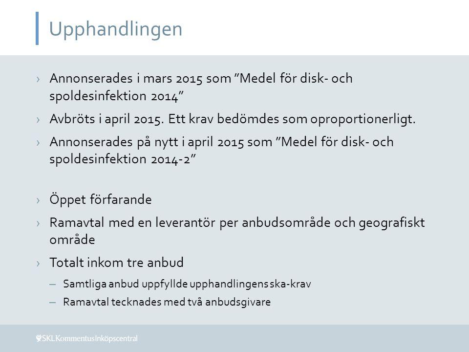 Upphandlingen ›Annonserades i mars 2015 som Medel för disk- och spoldesinfektion 2014 ›Avbröts i april 2015.