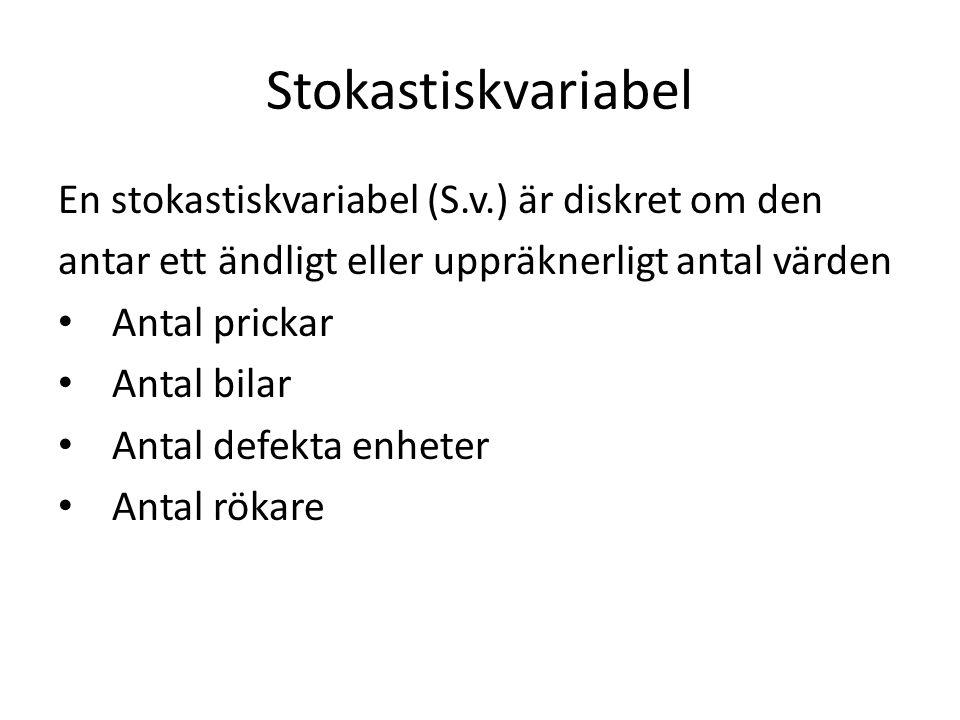 Stokastiskvariabel En stokastiskvariabel (S.v.) är diskret om den antar ett ändligt eller uppräknerligt antal värden Antal prickar Antal bilar Antal defekta enheter Antal rökare