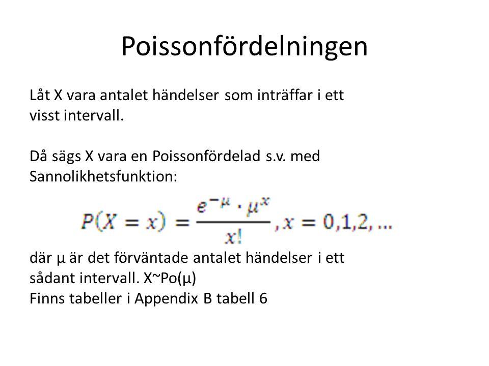 Poissonfördelningen Låt X vara antalet händelser som inträffar i ett visst intervall. Då sägs X vara en Poissonfördelad s.v. med Sannolikhetsfunktion: