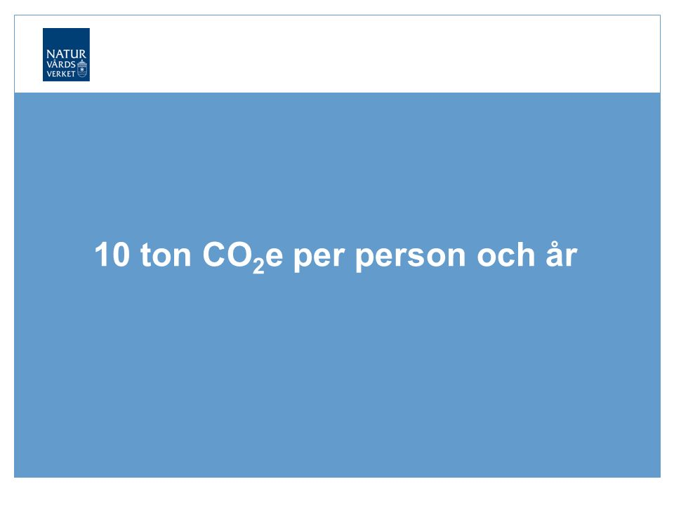 10 ton CO 2 e per person och år