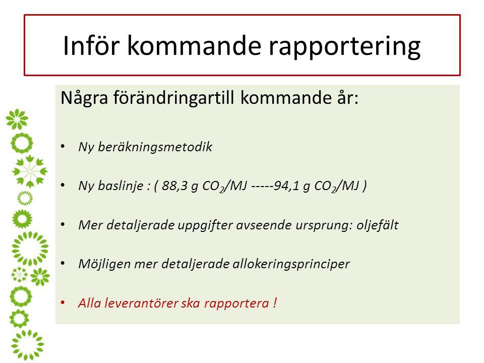 Inför kommande rapportering Några förändringartill kommande år: Ny beräkningsmetodik Ny baslinje : ( 88,3 g CO 2 /MJ -----94,1 g CO 2 /MJ ) Mer detaljerade uppgifter avseende ursprung: oljefält Möjligen mer detaljerade allokeringsprinciper Alla leverantörer ska rapportera !